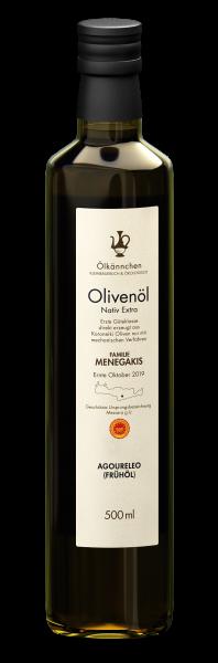 Ölkännchen Menegakis Agoureleo gU Messara 0,5-L Glasflasche Ernte Okt. 2019