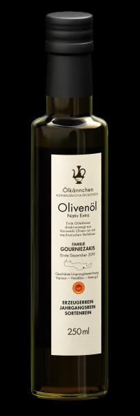 Ölkännchen Familie Gourniezakis gU Viannos 0,25-L-Glasflasche, Ernte 2019/20