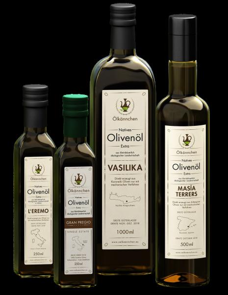 Olivenöl Feinschmecker Paket L'Eremo Gran Pregio Masia Terrers Vasilika