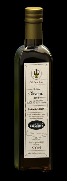Ölkännchen Hamalakis AGOURELEO unfiltriert 0,5-L Glasflasche Ernte Okt. 2018