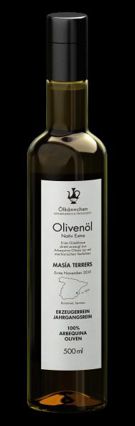 Ölkännchen Masía Terrers 100% Arbequina Natives Bio Olivenöl Extra, Spanien, 500ml Ernte 2019
