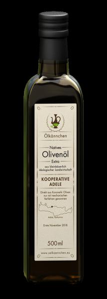 Ölkännchen Kooperative Adele (Rethymno), Kreta 500 ml- Glasflasche Ernte Nov. 2018