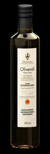Ölkännchen Familie Gourniezakis gU Viannos 0,5-L-Glasflasche, Ernte 2019/20