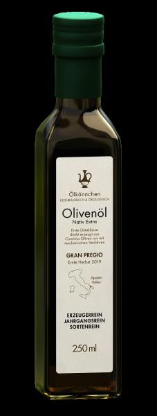 Ölkännchen Gran Pregio (Apulien-IT) 100% Coratina 250ml Glasflasche, Ernte Okt./Nov. 2019