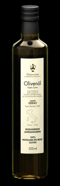 Ölkännchen Fam. Geraci (Sizilien) 100% Nocellara 500ml, Ernte Okt./Nov. 2020