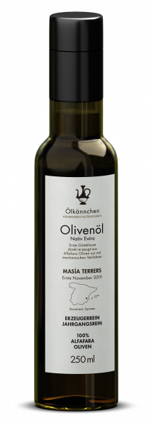 Ölkännchen Masía Terrers 100% Alfafara Natives Bio Olivenöl Extra, Spanien, 250ml Ernte 2019