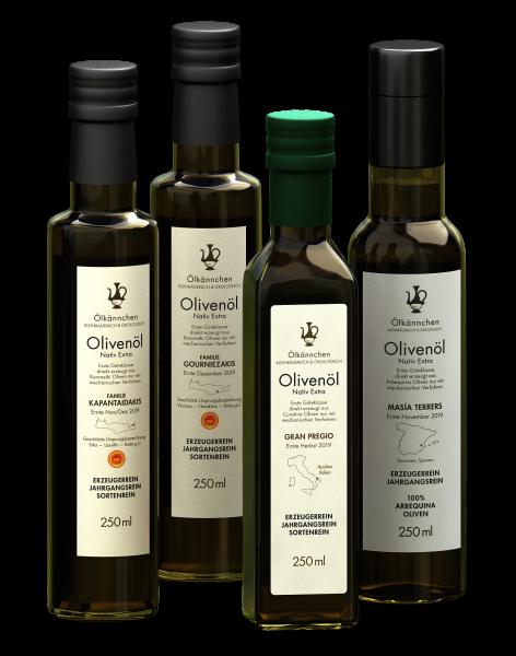 Bio Olivenöl Feinschmecker Paket Italien, Kreta, Spanien