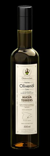 Ölkännchen Masía Terrers 100% Arbequina Natives Bio Olivenöl Extra, Spanien, 500ml-Flasche