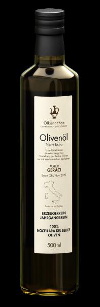 Ölkännchen Fam. Geraci (Sizilien) 100% Nocellara 500ml, Ernte Okt./Nov. 2019