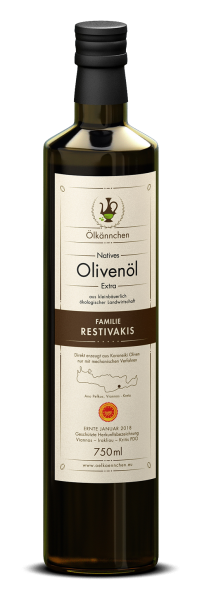 Ölkännchen Restivakis PDO Viannos 0,75-L Glasflasche Ernte 2017/18, Polyphenole (total) > 600 mg/kg