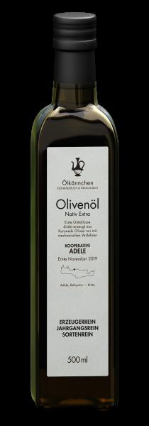 Ölkännchen Kooperative Adele (Rethymno), Kreta 500 ml- Glasflasche Ernte Nov. 2019