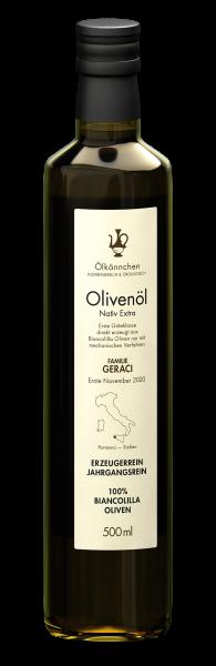 Ölkännchen Fam. Geraci (Sizilien) 100% Biancolilla 500ml, Ernte Nov/Dez 2020