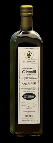 Ölkännchen Hamalakis AGOURELEO unfiltriert 1-L Glasflasche Ernte Okt. 2018