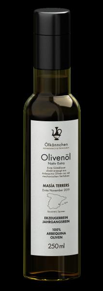 Ölkännchen Masía Terrers 100% Arbequina Natives Bio Olivenöl Extra, Spanien, 250ml Ernte 2019